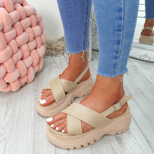 Yatta Beige Peep Toe Heel Sandals