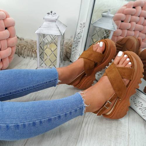 Yatta Camel Peep Toe Heel Sandals