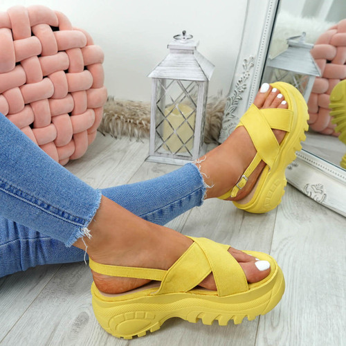 Yatta Yellow Peep Toe Heel Sandals
