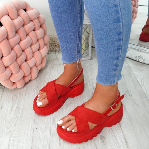 Yatta Red Peep Toe Heel Sandals