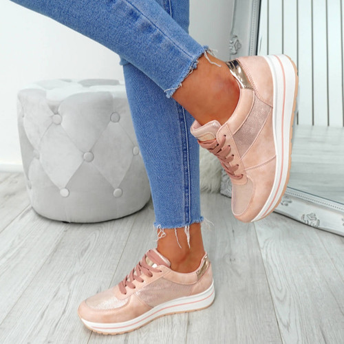 Cesso Pink Lace Up Trainers