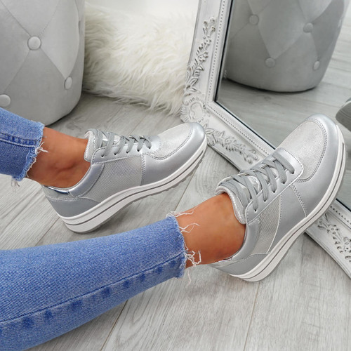 Cesso Silver Lace Up Trainers