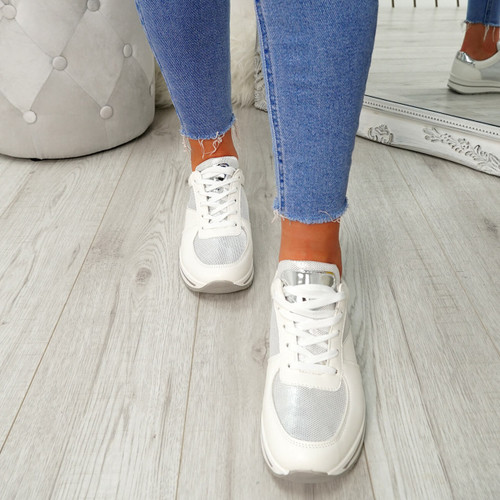 Cesso White Lace Up Trainers
