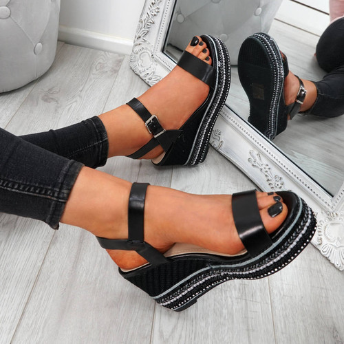 Aram Black Platform Sandals