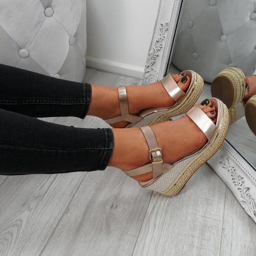 Aram Champagne Platform Sandals