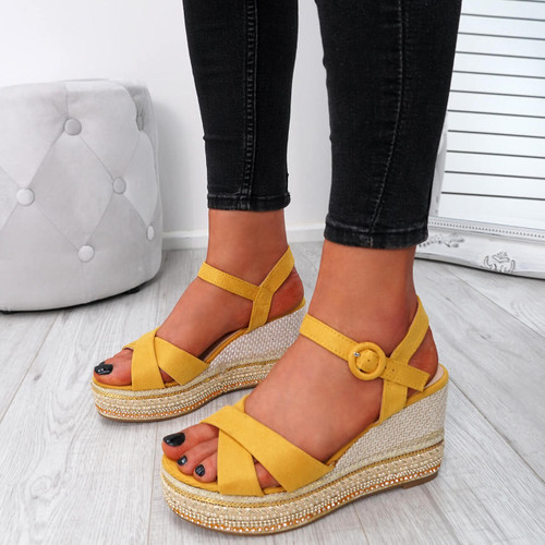Gava Yellow Wedge Platform Sandals