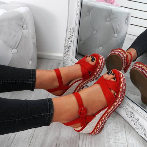 Gava Red Wedge Platform Sandals