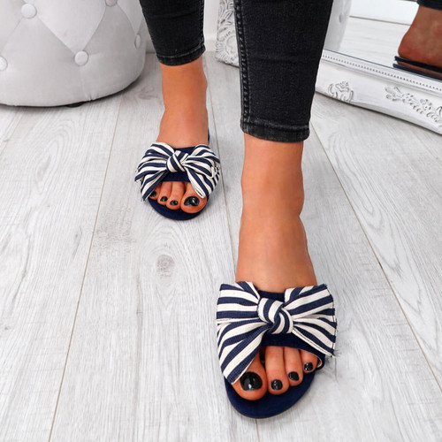 Fika Blue Slip On Sandals