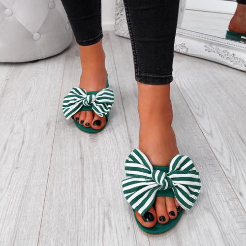 Fika Green Slip On Sandals