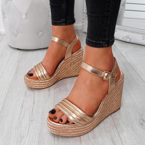 Knao Gold Platform Wedge Sandals