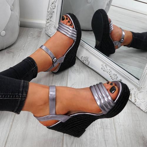 Knao Pewter Platform Wedge Sandals