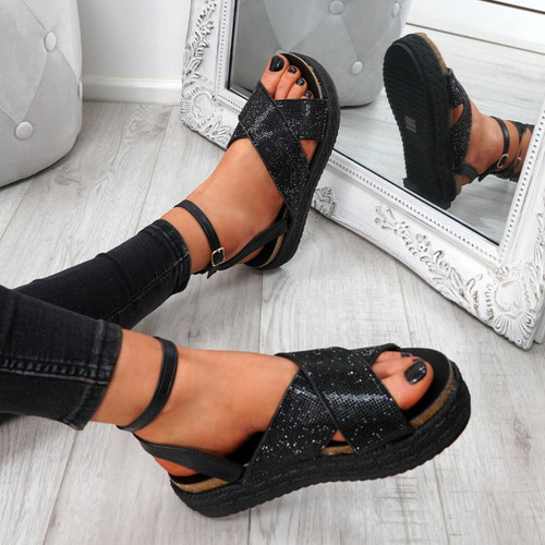 Lissa Black Studded Sandals