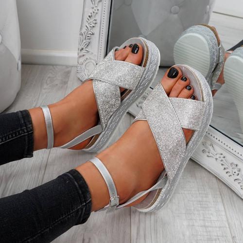 Lissa Silver Studded Sandals
