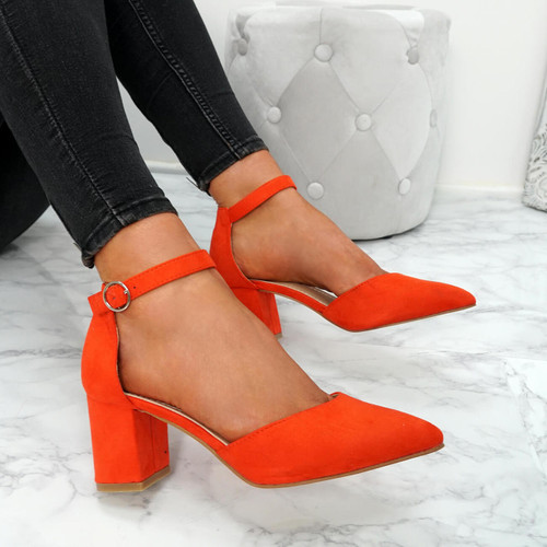 Xina Orange Pointed Pumps