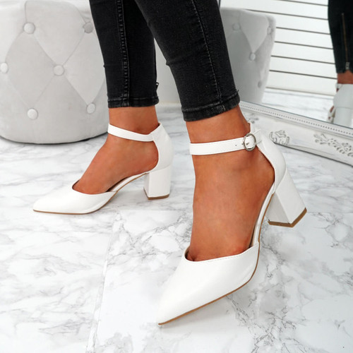 Xina White Pointed Pumps