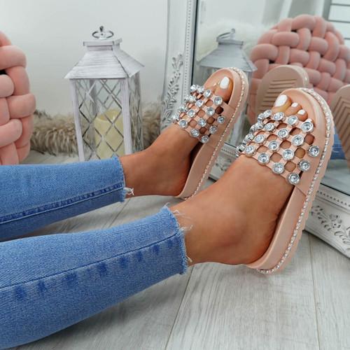 Jaya Pink Diamante Flat Sandals