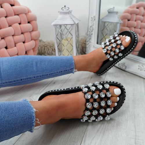 Jaya Black Diamante Flat Sandals