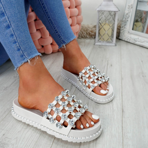 Jaya White Diamante Flat Sandals