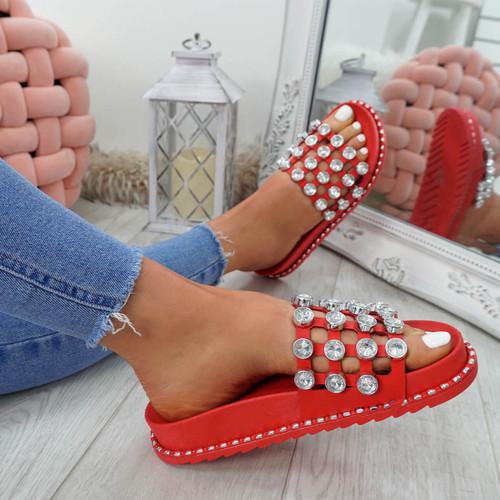 Jaya Red Diamante Flat Sandals