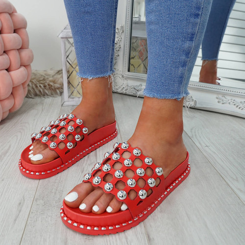 Ivva Red Pearl Flat Sandals