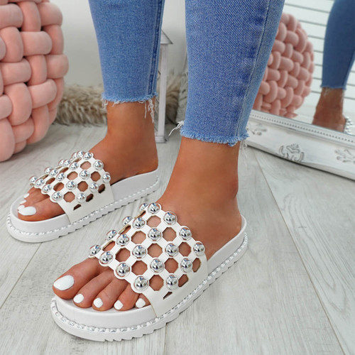 Ivva White Pearl Flat Sandals