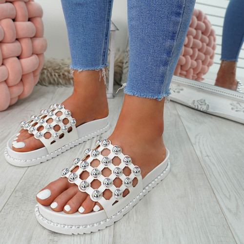 Ivva White Pearl Flat Sandals