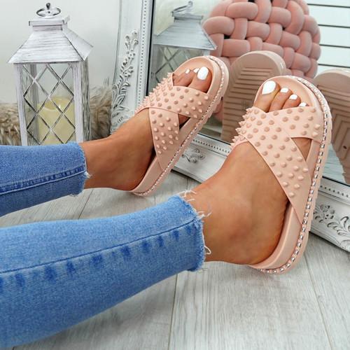 Waya Pink Spike Stud Flat Sandals