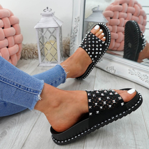 Bissa Black Rock Studs Flat Sandals