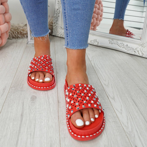 Bissa Red Rock Studs Flat Sandals