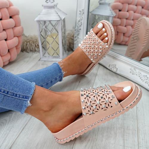 Bissa Pink Rock Studs Flat Sandals
