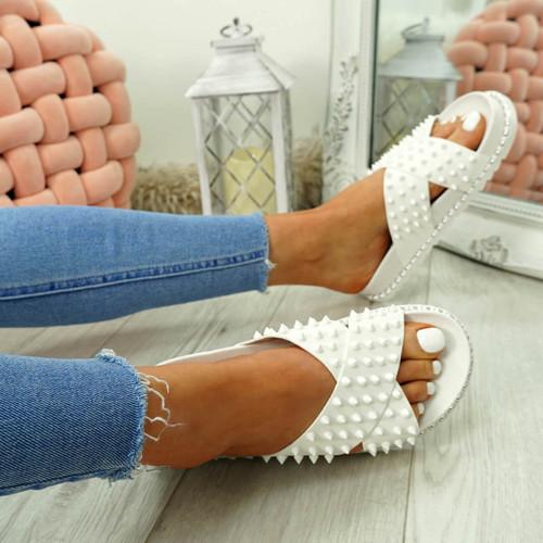 Waya White Spike Stud Flat Sandals
