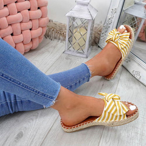 Voka Yellow Bow Flat Sandals