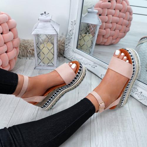 Sinka Pink Flatform Sandals