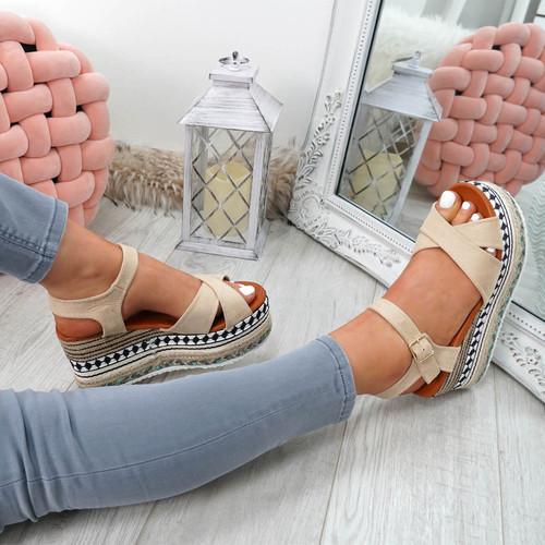 Egis Apricot Espadrille Flatform Sandals