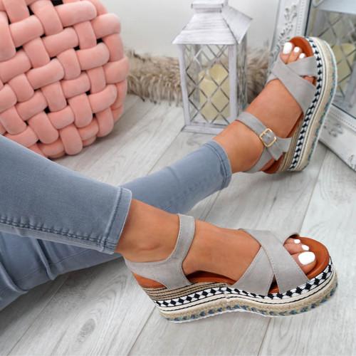 Egis Grey Espadrille Flatform Sandals