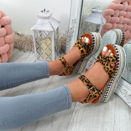Egis Leopard Espadrille Flatform Sandals
