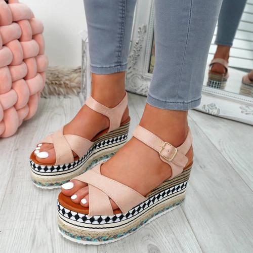 Egis Pink Espadrille Flatform Sandals