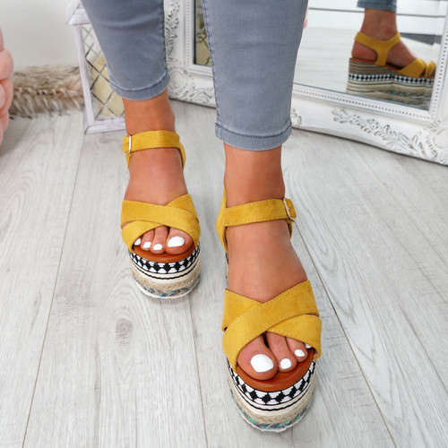 Egis Yellow Espadrille Flatform Sandals