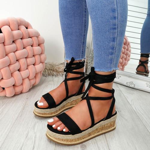 Lezo Black Ankle Wrap Sandals