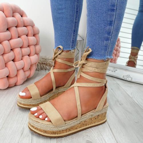 Lezo Apricot Ankle Wrap Sandals