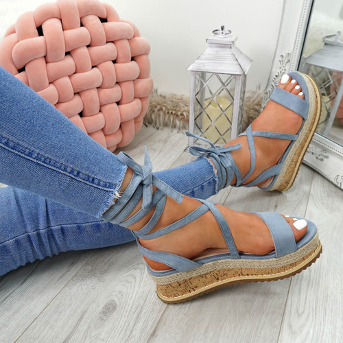 Lezo Blue Ankle Wrap Sandals