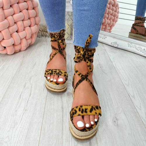 Lezo Leopard Ankle Wrap Sandals