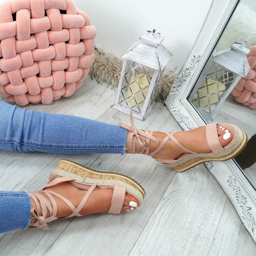 Lezo Pink Ankle Wrap Sandals