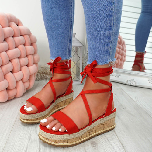 Lezo Red Ankle Wrap Sandals