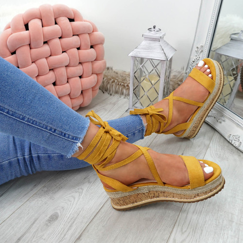 womens yellow ankle wrap espadrille sandals size uk 3 4 5 6 7 8