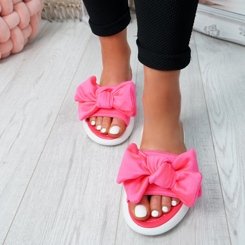 Lufa Fuchsia Bow Sliders Sandals