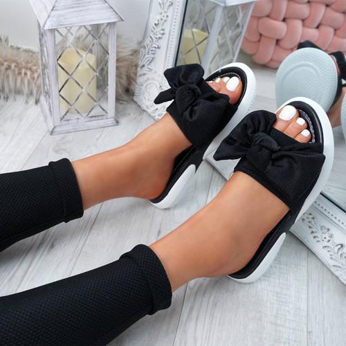 Lufa Black Bow Sliders Sandals