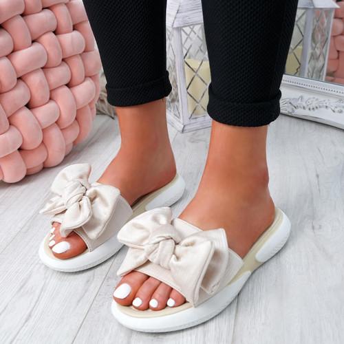 Lufa Gold Bow Sliders Sandals