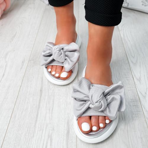 Lufa Silver Bow Sliders Sandals