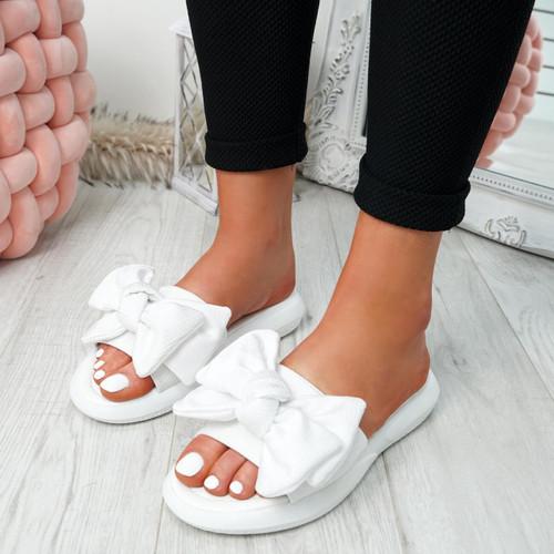 Lufa White Bow Sliders Sandals